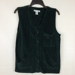 David Hollis Green Corduroy V-Neck Button Vest, L